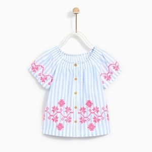Zara Girls 2-3 Year Embroidered Blouse